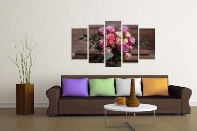 Floral canvas art with roses on brown background