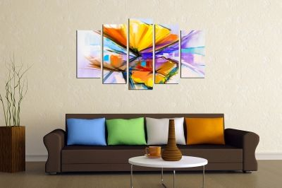 canvas print decoration with abstract flowers