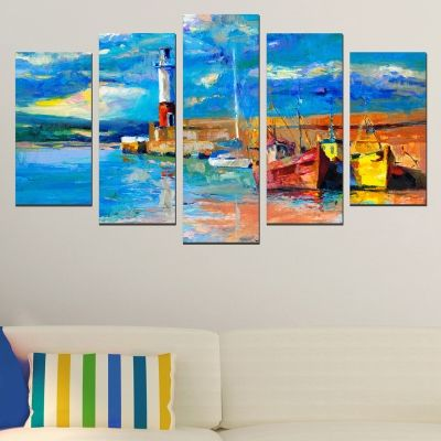 0445 Wall art decoration (set of 5 pieces) Lighthouse and boats