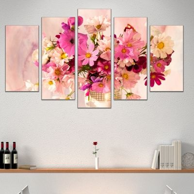 0447 Wall art decoration (set of 5 pieces) Delicate flowers