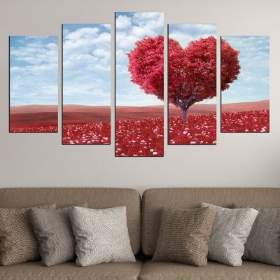 0450 Wall art decoration (set of 5 pieces) Love tree