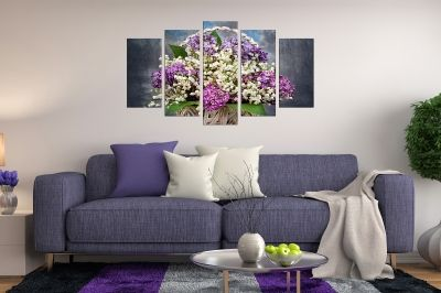 Art canvas decoration for wall with lilac in a basket