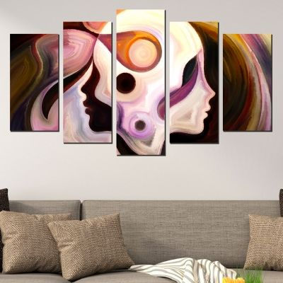 Modern canvas art reproduction in brown