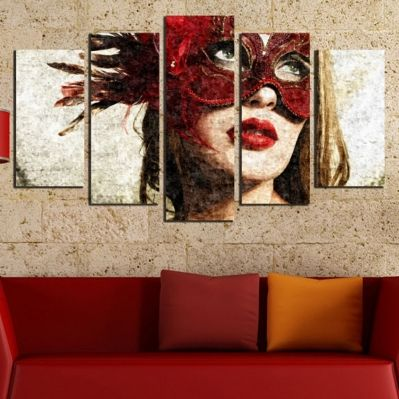 Canvas art set for decoration woman with red mask