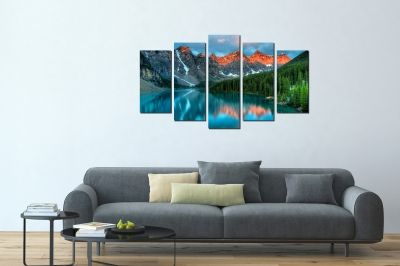 canvas print decoration in blue and green with mountain landscape
