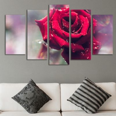 0458 Wall art decoration (set of 5 pieces) Beautiful rose