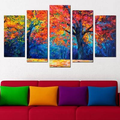 0459 Wall art decoration (set of 5 pieces) Colorful autumn landscape