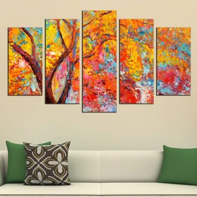 0460 Wall art decoration (set of 5 pieces) Colorful tree
