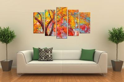 Art canvas decoration for wall with colorful tree