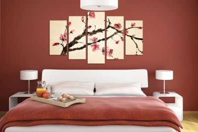 Art canvas decoration for wall with blooming brunch