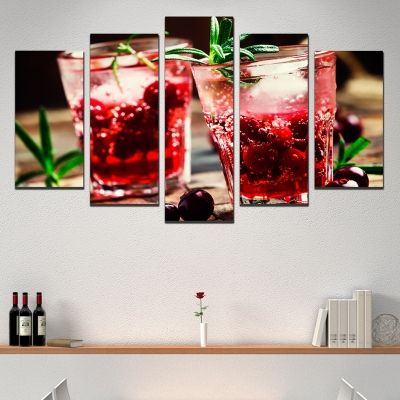 Canvas art set for restaurant Fresh cocktails