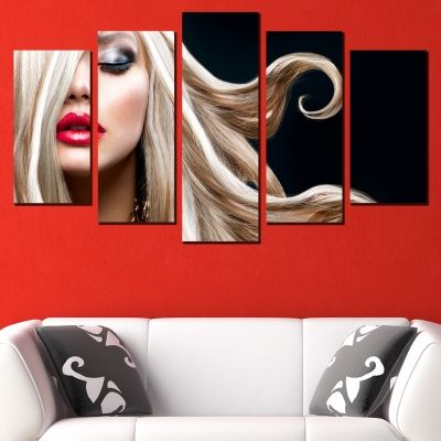 0468 Wall art decoration (set of 5 pieces) Blond hair