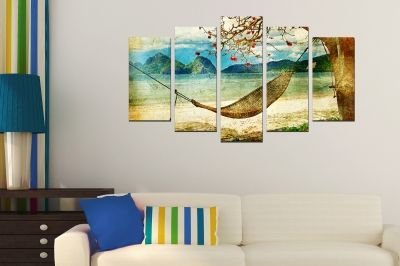 Art canvas decoration - lanscape with tropical island