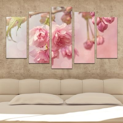 0477 Wall art decoration (set of 5 pieces) Pink cherry blossom tree