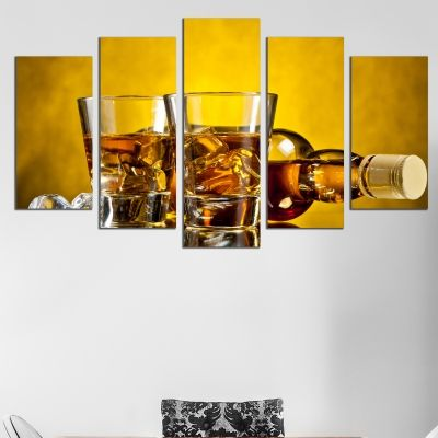 0482 Wall art decoration (set of 5 pieces) Whisky with ice