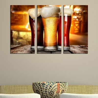 0483 Wall art decoration (set of 3 pieces) Three kinds of beer