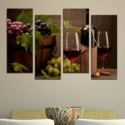 0484  Wall art decoration (set of 4 pieces) Composition with red wine and grapes