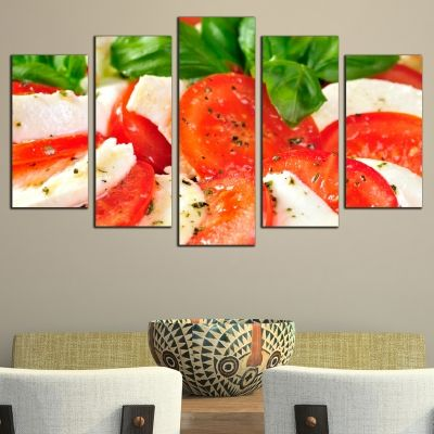 0487 Wall art decoration (set of 5 pieces) Caprese Salad