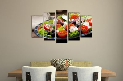 Art canvas decoration with Mediterranean salad