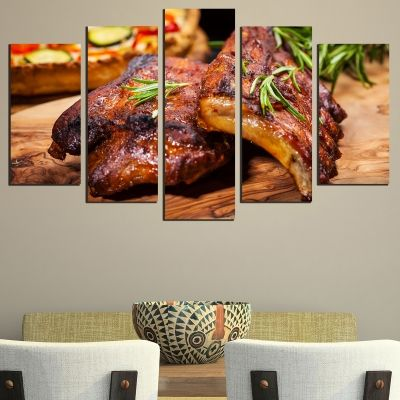 0490 Wall art decoration (set of 5 pieces) BBQ spare ribs
