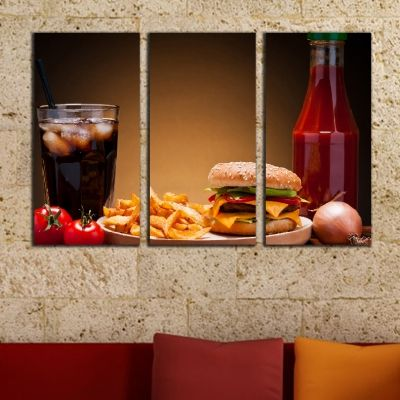 0494 Wall art decoration (set of 3 pieces) Burger menu