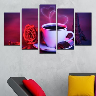 0495 Wall art decoration (set of 5 pieces) Romantic coffee