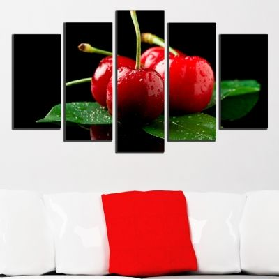 0496 Wall art decoration (set of 5 pieces) Cherries