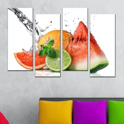0498  Wall art decoration (set of 4 pieces) Fresh fruits