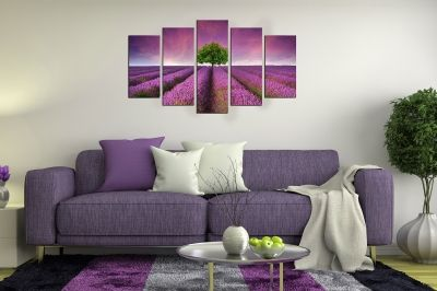 Art canvas decoration landscape with lavender field