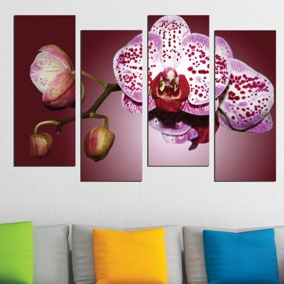 0502  Wall art decoration (set of 4 pieces) Beautiful orchid