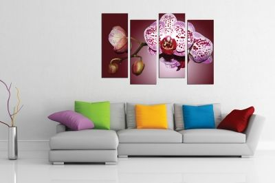 Wall  decoration for bedroom with beautiful orchid