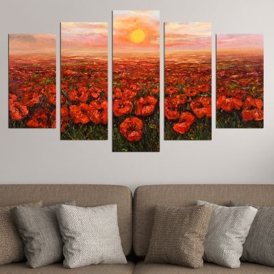 0504 Wall art decoration (set of 5 pieces) Landscape with fild of poppies