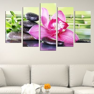 0507 Wall art decoration (set of 5 pieces) Composition with orchid