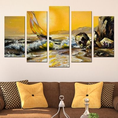 0508 Wall art decoration (set of 5 pieces) Sea landscape