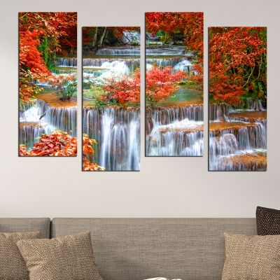 0513  Wall art decoration (set of 4 pieces) Landscape with Waterfall