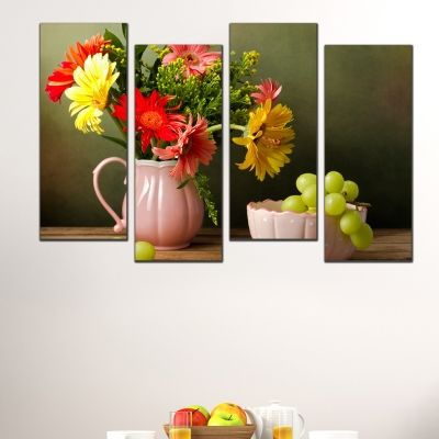 0514  Wall art decoration (set of 4 pieces) Still life with grapes and gerberas