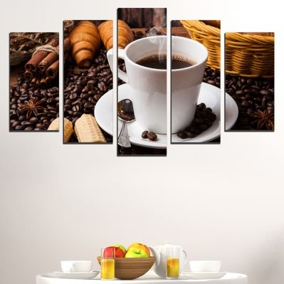 0518 Wall art decoration (set of 5 pieces) Coffee