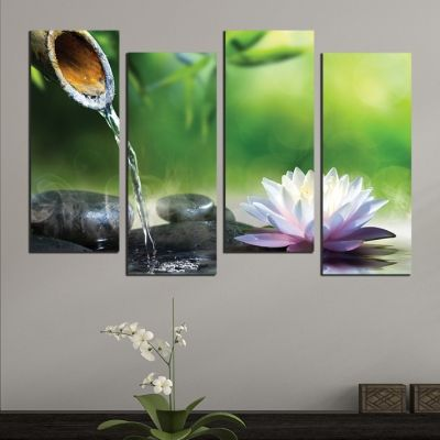 0519  Wall art decoration (set of 4 pieces) Zen composition in green