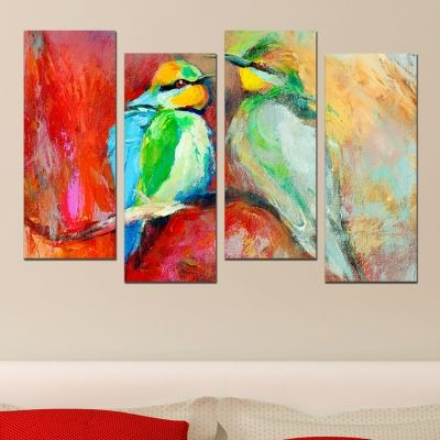 0520  Wall art decoration (set of 4 pieces) Birds in love