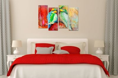 Wall  decoration canvas for bedroom birds in love