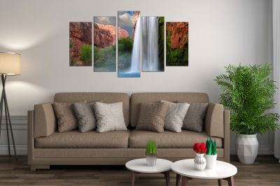 canvas wall art set Landscape with waterfall