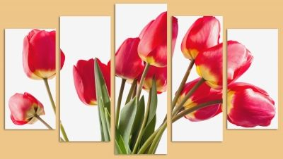 Wall decoration set with red tulips