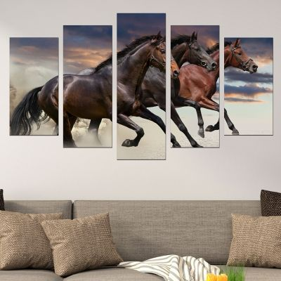 0526 Wall art decoration (set of 5 pieces) Wild horses