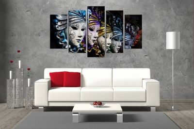 Venetian masks canvas art set of 5 pieces