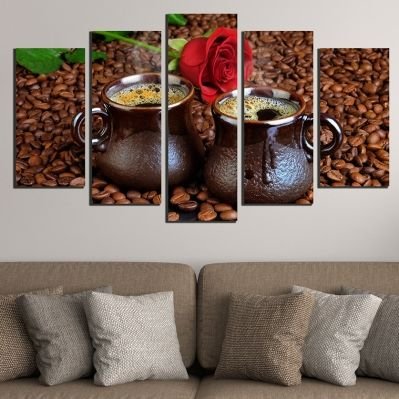 0529 Wall art decoration (set of 5 pieces) Aroma of coffee and roses