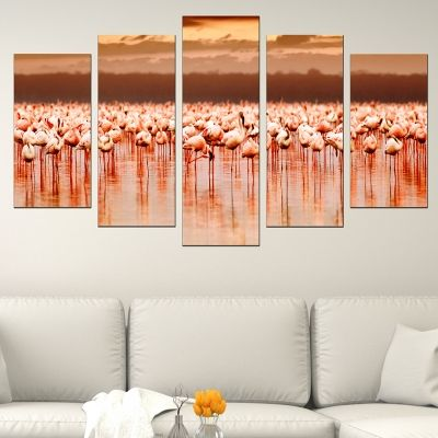 0530 Wall art decoration (set of 5 pieces) Flamingos on sunset