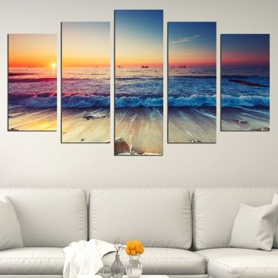 0531 Wall art decoration (set of 5 pieces) On the beach
