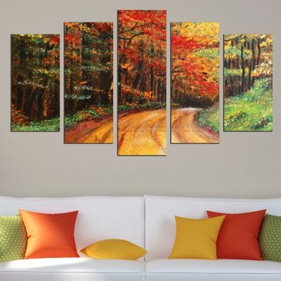 0542 Wall art decoration (set of 5 pieces) Colorful landscape