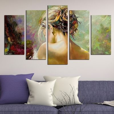 0545 Wall art decoration (set of 5 pieces) Beautiful girl