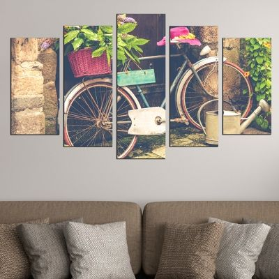 0547 Wall art decoration (set of 5 pieces) Vintage bicicle